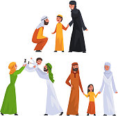 Arab Families in Traditional Clothes Set, Happy Muslim Parents with Their Children Vector Illustration on White Background.