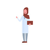arab female doctor holding clipboard arabic woman in hijab and uniform pointing something hospital medicine worker cartoon character full length white background flat vector illustration
