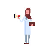 arab female doctor holding loudspeaker shouting through megaphone arabic woman in hijab and uniform hospital medicine worker full length white background flat vector illustration
