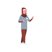 arab female doctor or nurse arabic woman in hijab and uniform pointing something hospital medicine worker cartoon character full length white background flat vector illustration