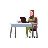 arab female doctor using laptop at workplace desk arabic woman in hijab and uniform hospital medicine worker cartoon character full length white background flat vector illustration