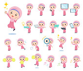 A set of Islamic girl with digital equipment such as smartphones.There are actions that express emotions.It's vector art so it's easy to edit.