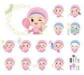 A set of Islamic girl on beauty.There are various actions such as skin care and makeup.It's vector art so it's easy to edit.