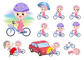 A set of Islamic girl riding a city cycle.There are actions on manners and troubles.It's vector art so it's easy to edit.