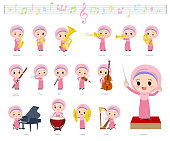 A set of Islamic girl on classical music performances.There are actions to play various instruments such as string instruments and wind instruments.It's vector art so it's easy to edit.
