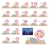 A set of Islamic girl on desk work.There are various actions such as feelings and fatigue.It's vector art so it's easy to edit.