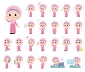 A set of Islamic girl with who express various emotions.There are actions related to workplaces and personal computers.It's vector art so it's easy to edit.