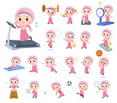 A set of Islamic girl on exercise and sports.There are various actions to move the body healthy.It's vector art so it's easy to edit.