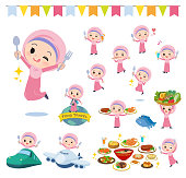 A set of Islamic girl on food events.There are actions that have a fork and a spoon and are having fun.It's vector art so it's easy to edit.