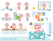 A set of Islamic girl related to housekeeping such as cleaning and laundry.There are various actions such as cooking and child rearing.It's vector art so it's easy to edit.