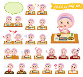 A set of Islamic girl about meals.Japanese and Chinese cuisine, Western style dishes and so on.It's vector art so it's easy to edit.