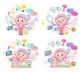 A set of Islamic girl who perform multitasking.There are things to do smoothly and a pattern that is in a panic.It's vector art so it's easy to edit.
