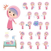 A set of Islamic girl with injury and illness.There are actions that express dependence and death.It's vector art so it's easy to edit.