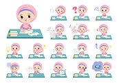 A set of Islamic girl on study.There are various emotions and actions.It's vector art so it's easy to edit.