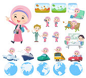 A set of Islamic girl on travel.There are also vehicles such as boats and airplanes.It's vector art so it's easy to edit.
