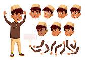 Arab, Muslim Boy, Child, Kid, Teen Vector. Teenager, Education. Face Emotions, Various Gestures Animation Creation Set Isolated Cartoon Character Illustration