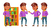 Arab, Muslim Boy Schoolboy Kid Poses Set Vector. Primary School Child. Funny Children. Lesson. Junior. Lifestyle, Friendly. For Advertising, Booklet Placard Design Cartoon Illustration