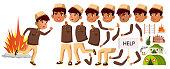 Arab, Muslim Boy Schoolboy Kid Vector. Animation Creation Set. For Banner, Flyer, Brochure Design. Face Emotions, Gestures. Refugee Military Conflict War Illustration