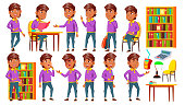 Arab, Muslim Boy Set Vector. Lesson. Library. Primary School Child. Beautiful Kid. Youth. For Card, Advertisement Greeting Design Cartoon Illustration