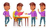 Arab, Muslim Boy Set Vector. Primary School Child. Lesson. Reading Book. Cute Child. Happiness Enjoyment. Cheer, Pretty. For Presentation Print Invitation Design Cartoon Illustration