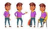 Arab, Muslim Boy Set Vector. Primary School Child. Library Books. Reading. Auditorium. Friendship. Pose, Beauty For Web Brochure Poster Design Cartoon Illustration