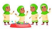 Arab, Muslim Girl Kindergarten Kid Poses Set Vector. Active, Joy Preschooler Playing. For Presentation, Print, Invitation Design. Cartoon Illustration
