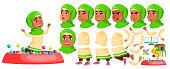 Arab, Muslim Girl Kindergarten Kid Vector. Animation Creation Set. Face Emotions, Gestures. Preschool, Childhood. Friend. For Banner, Flyer Brochure Design Animated Cartoon Illustration