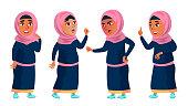 Arab, Muslim Girl School, Girl Kid Poses Set Vector. Child. Teenage. Traditional Clothes. For Web, Brochure, Poster Design Cartoon Illustration