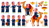 Arab, Muslim Girl School, Girl Kid Poses Set Vector. Primary School Child. Study. Knowledge, Learn, Lesson. Camel, Sheep Goat For Traditional Clothes Cartoon Illustration