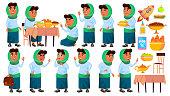 Arab, Muslim Girl School, Girl Kid Poses Set Vector. Primary School Child. Teaching, Educate, Schoolkid. Design Cartoon Illustration