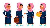 Arab, Muslim Girl School, Girl Kid Poses Set Vector. Teenager, Classroom, Room. For Advertising, Booklet, Placard Design Cartoon Illustration