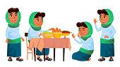 Arab, Muslim Girl Set Vector. Prayer. Religion. Breakfast. Traditional Clothes. For Banner, Flyer Web Design Cartoon Illustration