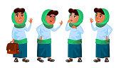 Arab, Muslim Girl Set Vector. Primary School Child. Education. Educational, Auditorium, Lecture. For Card, Advertisement Greeting Design Cartoon Illustration
