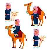 Arab, Muslim Girl Set Vector. Traditional Clothes. Camel, Sheep, Goat. For Web, Poster Booklet Design Cartoon Illustration