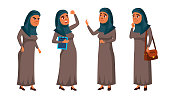 Arab, Muslim Teen Girl Poses Set Vector. Positive Office Manager Person. For Postcard, Cover, Placard Design. Cartoon Illustration