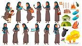 Arab, Muslim Teen Girl Poses Set Vector. Refugee, War, Bomb, Explosion, Panic. For Web Design Cartoon Illustration