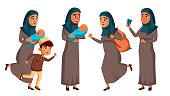Arab, Muslim Teen Girl Poses Set Vector. Refugee, War, Bomb, Explosion Panic Cartoon Illustration