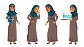 Arab, Muslim Teen Girl Set Vector. Face. Office Manager Person. For Web, Brochure, Poster Design. Cartoon Illustration