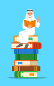 Senior arab man teacher reads open book sitting on stack of giant books. School education concept. Vector cartoon illustration. Experienced person shares knowledge.