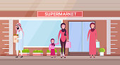 arab people in traditional clothes holding shopping bags with groceries arabic characters standing outdoor modern grocery shop supermarket exterior horizontal vector illustration