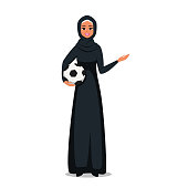 Arab woman wearing hijab holds a soccer ball and showing at something with hand. Vector illustration isolated from white background
