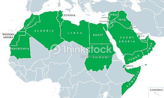 Arab World Political Map stock vector - Thinkstock
