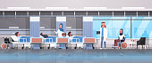 arabic doctors team visiting disabled arab patients sitting wheelchair lying bed intensive therapy ward healthcare concept hospital clinic room interior horizontal banner vector illustration