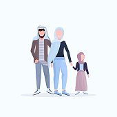 arabic father mother and little daughter walking together happy arab family in traditional clothes having fun flat white background full length vector illustration
