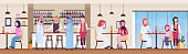arabic guests at bar counter and tables drinking fresh juice and coffee bartender and waitress serving drinks to arab clients modern restaurant interior flat horizontal banner vector illustration