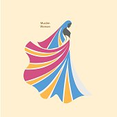 Arabic hijab for beautiful woman Islam logo design
