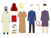 Arabic man clothes. National islamic fashion of male costumes wardrobe items muslim iranian and turkish sultan vector illustrations. Traditional clothing saudi and muslim for man character