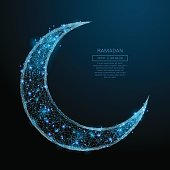 Abstract image of Arabic Moon in the form of a starry sky or space, consisting of points, lines, and shapes in the form of planets, stars and the universe. Vector Ramadan Kareem concept