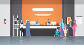 arabic patients in hijab standing line queue at hospital reception desk medical doctors consultation healthcare concept waiting hall clinic interior full length horizontal flat vector illustration