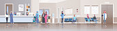 arabic patients in traditional clothes standing line queue at hospital reception desk waiting hall doctors consultation healthcare concept clinic interior full length horizontal banner flat vector ill